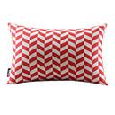 赤い波線コットン/リネンDecorrative枕カバー