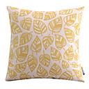 ゴールドコットン/リネン装飾枕カバーの葉