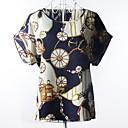 婦人向け カジュアル/普段着 夏 Tシャツ,シンプル ラウンドネック プリント マルチカラー 半袖 薄手 / 半透明
