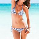 Ženska Vintage Stripes Seksi Halter Bikini Swimwear
