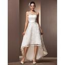 Lanting Bride® Aライン / プリンセス 小柄 / 大きいサイズ ウェディングドレス - シック&モダン / 披露宴ドレス ホワイトドレス アシメントリー スイートハート レース とともに
