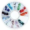 36個のミックスカラー4ミリメートルの正方形の立方体のクリスタルのラインストーンホイールネイルアートの装飾
