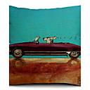 漫画の犬とロードスターコットン/リネン装飾枕カバー