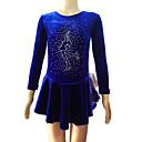 Klizačke haljine Žene Dugi rukav Skating Haljine i suknje Haljine Umjetničko klizanje prerušiti Prozračnost Velvet Plav Odjeća za klizanje