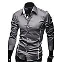 Duolunduo Muška Slim Osobnost Casual Flanger Long Sleeve Shirt (Gray)