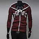 Zian® Men's Hoodie Fashion Letter Print Slim Fleece Casual Long Sleeve Cardigan Hoodie O