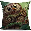 crtić sova pamuka / lana dekorativni jastuk pokriti