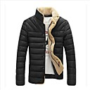 Men's Casual Pure Color Cotton-Padded Coat(Acc Not Included)