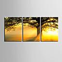 3個セットキャンバス地プリントアート植物ゴールデンツリー