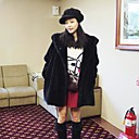 Women's Elegant Faux Fur Pure Color Hoodie Long Sleeve Coat