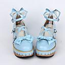 ručne PU kože 5cm klin slatki lolita cipele s lukom