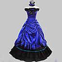 Jednodílné/Šaty Gothic Lolita Retro Cosplay Lolita šaty Černá / Modrá Retro Bez rukávů Long Length Šaty / Límeček Pro DámskéBavlna /