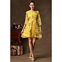 kyy女性のファッション花柄ラウンドネックのドレス