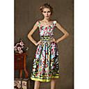 kyy女性のファッション花柄ノースリーブのドレス