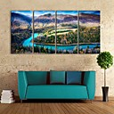e-HOME® plátně umění mezi horami a řekami dekorativní malba sada 4