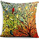 Višebojni ptice i stabla pamuk / lan dekorativne jastučnicu