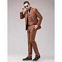 スーツ スリムフィット スリムノッチドラペル シングルブレスト 一つボタン 3点 ブラウン ストレートフラップ