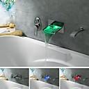 浴槽用水栓 - 現代風 - LED / 滝状吐水タイプ / ハンドシャワーは含まれている - 真鍮 (クロム)