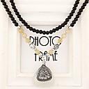 ヨーロピアンスタイルのファッションラインストーンの三角形ブラックオパールビーズロングネックレス