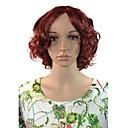 pracovišti ženy cosplay krátký hluboký vlnité vlasy syntetické paruky červené víno s volným síťce na vlasy