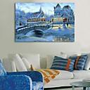 E-home® rastegnut na čelu platnu print umjetnosti snježne grad bljesak djelovanje dovelo
