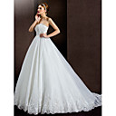 Lanting Bride® Aライン 小柄 / 大きいサイズ ウェディングドレス コートトレーン ストラップレス レース / オーガンザ / サテン とともに