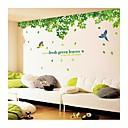 zidne naljepnice zidne naljepnice, stil svježe zeleno lišće i ptice PVC zidne naljepnice