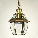 透明なガラスシェードとヨーロピアンスタイルのレトロな1灯ペンダント