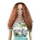 Žene cosplay afro dugo paperjast kose sintetička perika nitko bang smeđa s besplatnim kose net