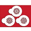 設定された色ホワイト4-Cカップケーキステンシルクッキーとコーヒーステンシル、3枚/セットST-656