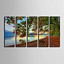 E-home® rastegnut platnu si jezeru krajolik ukras slikarstvo set 5