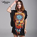 Women's Vintage/Sexy/Beach/Casual/Print/Cute/Plus Sizes Micro-elastic Short Sleeve Above Knee Dress