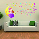 samolepky na zeď na stěnu, dívka sedící na Měsíci housle pvc samolepky na zeď