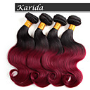 4本12-26インチブラジルオンブル髪はカラー1B / 530本体波を編みます