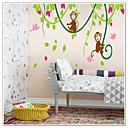 Majmuni igraju s ptica na stablo vinove zid decal zooyoo9012 dekorativne prijenosnih PVC zidne naljepnice