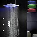 シャワー水栓 - 現代風 - LED / サーモスタットタイプ / レインシャワー / サイドスプレー / ハンドシャワーは含まれている - 真鍮 (クロム)
