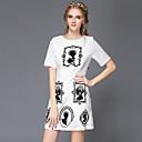 aofuli letní plus velikosti ženy oblečení móda vinobraní elegantní štíhlý krátký rukáv volný čas / party / pracovní šaty