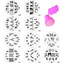10ks nový design nail art ražby deska + pěchovadlo&škrabka