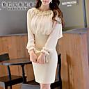 婦人向け ラウンドネック ジッパー/フラワー ドレス , スパンデックス/ポリエステル 膝上 長袖