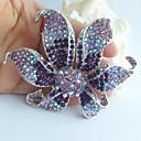 svatební nádherný 3,74 palce silver-tone fialová drahokamu křišťálově orchidej květina brož přívěsek
