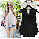 Women's V-Neck Ruched Vests , Chiffon Sexy/Casual Sleeveless Zhuoxini
