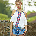 Women's Round Hollow Out T-Shirts , Cotton Beach/Casual ½ Length Sleeve Zhuoxini