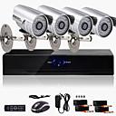 超低価格4CH CCTVのDVRキット(4屋外防水600TVLカラーカメラ)