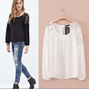 Women's Round Lace T-Shirts , Chiffon Sexy/Casual/Lace Long Sleeve Zhuoxini
