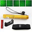2 u 1 532nm zeleni laser pointer velike snage 5mW punjiva 18650+ futrola zlato