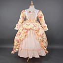 Jednodijelni/Haljine Gothic Lolita Steampunk® / Rococo Cosplay Lolita Haljine Bijela Cvjetni print Dugi rukav Dugi Duljina Haljina Za Žene