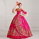 Jednodílné/Šaty Gothic Lolita Steampunk® / Elegantní / Viktoria Tarzı Cosplay Lolita šaty Fuchsiová Tisk Dlouhé rukávy Na zem Šaty Pro