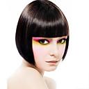 キャップレスショートボブ高品質な合成自然な黒ストレートヘアのかつらフル強打