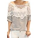 女性のカジュアルなかぎ針編みのマントの襟バットウィングスリーブTシャツ