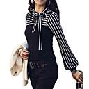 Majica s rukavima Ženski Plus veličine Prugasti uzorak-Dugih rukavaSva godišnja doba Bijela / Crna Srednje Pamuk / Drugo